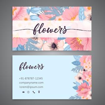 Modèle de carte de visite avec des fleurs à l'aquarelle