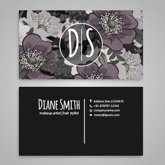 Modèle de carte de visite avec des fleurs aquarelles