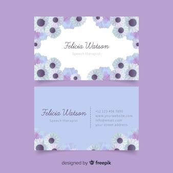 Modèle de carte de visite floral aquarelle