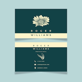 Modèle de carte de visite floral dessiné à la main moderne