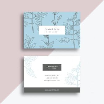 Modèle de carte de visite floral dessiné à la main réaliste