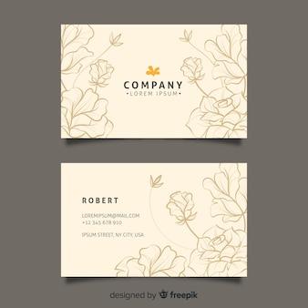 Modèle de carte de visite floral dessiné main