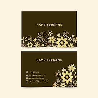 Modèle de carte de visite floral doré