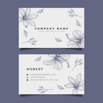 Modèle de carte de visite floral réaliste dessiné à la main