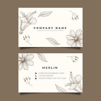 Modèle de carte de visite florale réaliste dessinée à la main