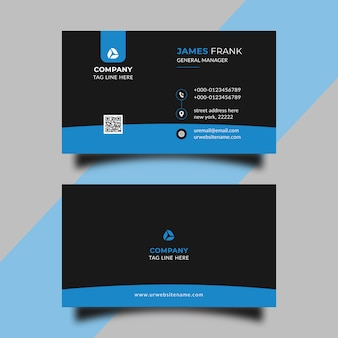 Modèle de carte de visite de forme bleue