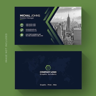 Modèle de carte de visite de forme verte