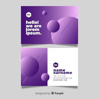 Modèle de carte de visite de formes dégradé abstrait