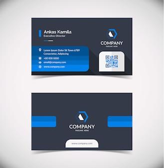 Modèle de carte de visite géométrique gris foncé et bleu moderne