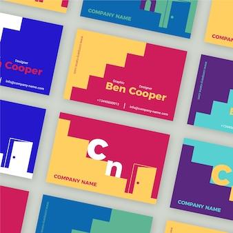 Modèle de carte de visite de graphiste coloré