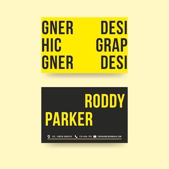Modèle de carte de visite de graphiste jaune créatif