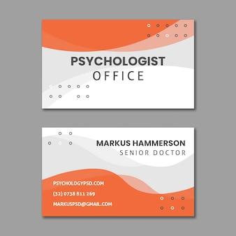 Modèle de carte de visite horizontale de bureau de psychologie