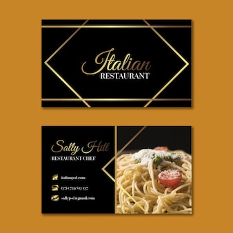 Modèle de carte de visite horizontale de cuisine italienne de luxe