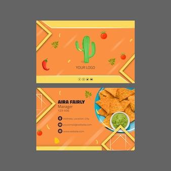 Modèle de carte de visite horizontale de cuisine mexicaine