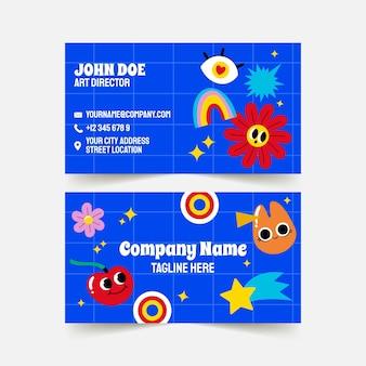 Modèle de carte de visite horizontale de dessin animé plat à la mode dessiné à la main