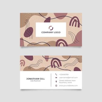Modèle de carte de visite horizontale de formes abstraites dessinées à la main