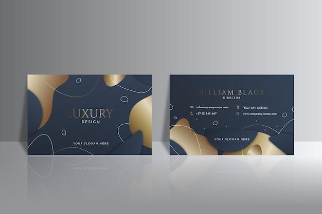 Modèle de carte de visite horizontale de luxe doré dégradé