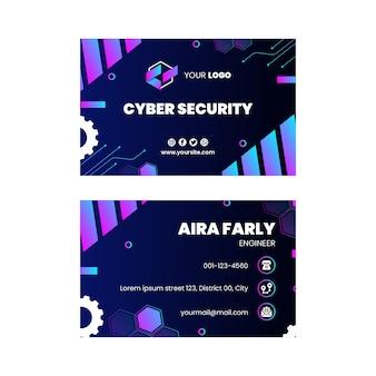 Modèle de carte de visite horizontale recto-verso de cybersécurité