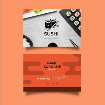 Modèle de carte de visite horizontale recto-verso de restaurant japonais