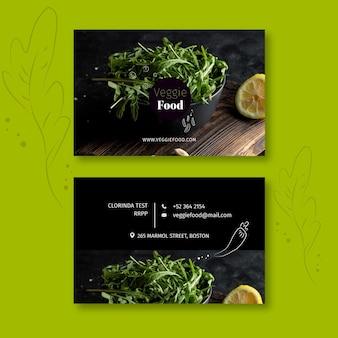 Modèle de carte de visite horizontale de restaurant sain