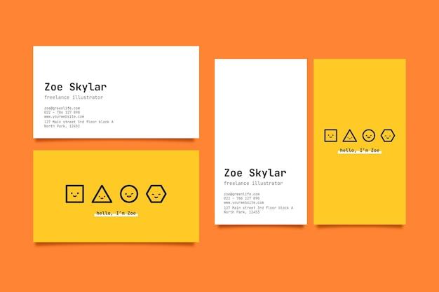 Modèle de carte de visite horizontale et verticale avec des formes géométriques