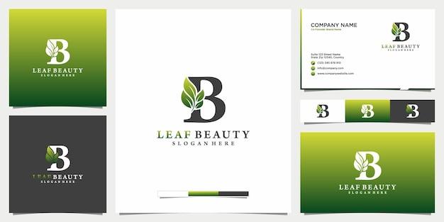 Modèle de carte de visite et icône du logo beauté feuille et lettre b