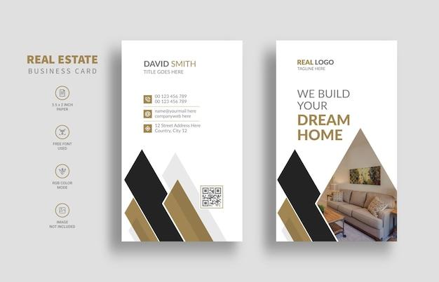 Modèle de carte de visite immobilière avec style vertical
