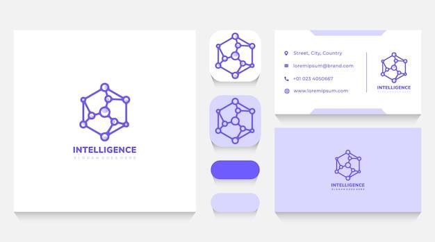 Modèle et carte de visite intelligence cube et tech logo
