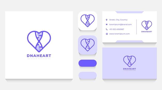 Modèle et carte de visite de logo d'adn et de coeur