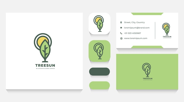 Modèle et carte de visite de logo d'arbre et de soleil