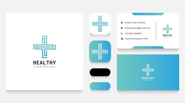 Modèle et carte de visite de logo de croix de santé