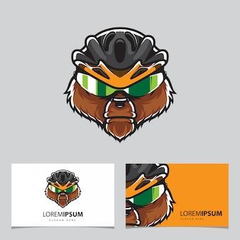 Modèle de carte de visite logo grizzly biker head