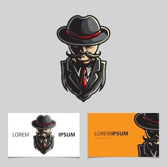 Modèle de carte de visite logo homme tête esport