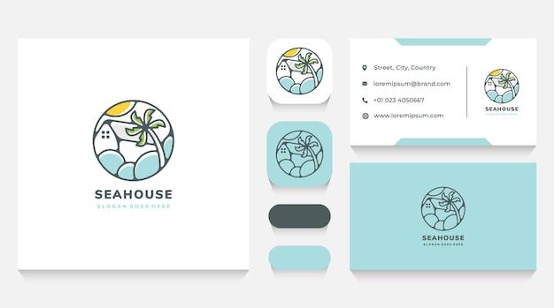 Modèle et carte de visite de logo de maison de mer et de plage