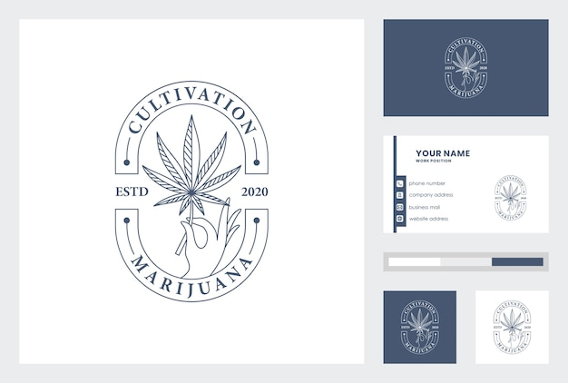 Modèle de carte de visite avec logo de la marijuana.