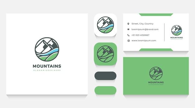 Modèle et carte de visite de logo de paysage de montagnes