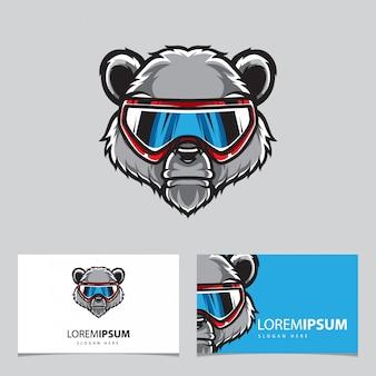 Modèle de carte de visite logo snow boarder grizzly head