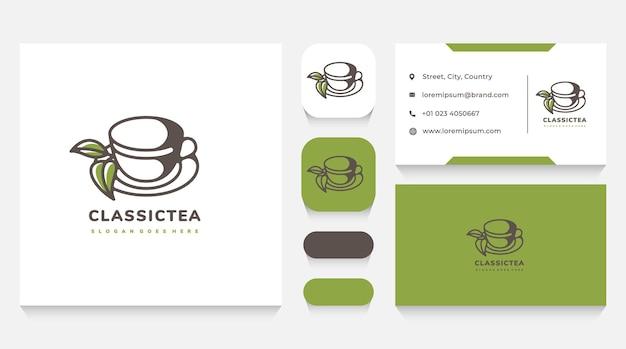 Modèle et carte de visite de logo de thé et de tasse classiques