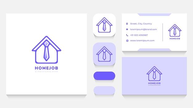 Modèle et carte de visite de logo de travail et de travail de maison