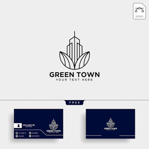 Modèle de carte de visite et logo ville verte