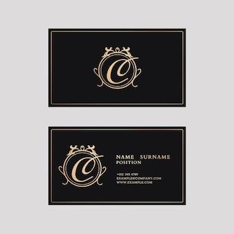 Modèle de carte de visite de luxe dans les tons or et noir avec flatlay vue avant et arrière