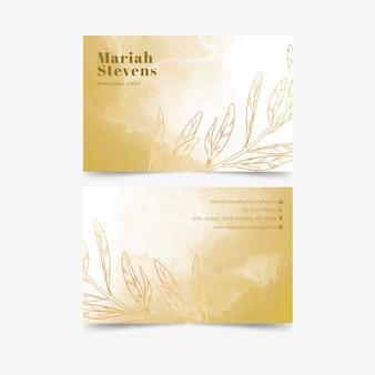 Modèle de carte de visite de luxe doré dégradé