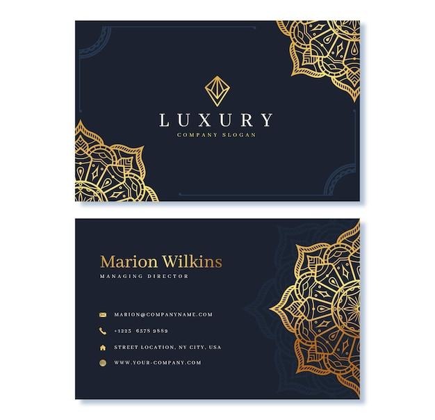 Modèle de carte de visite de luxe doré réaliste