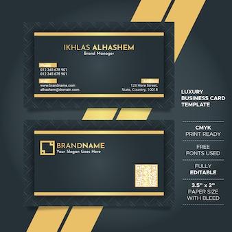 Modèle de carte de visite de luxe noir et or