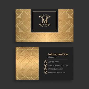 Modèle de carte de visite de luxe en or