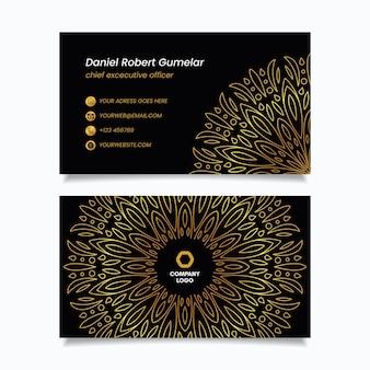 Modèle de carte de visite de mandala doré