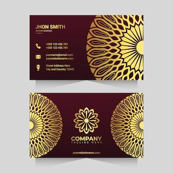 Modèle de carte de visite mandala de luxe couleur or