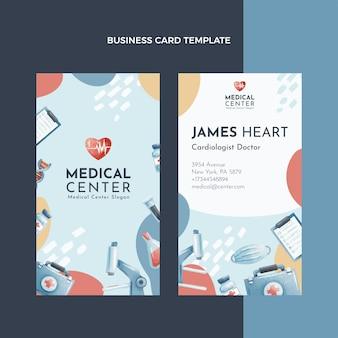 Modèle de carte de visite médicale verticale dessinée à la main