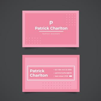 Modèle de carte de visite minimaliste en pointillé rose