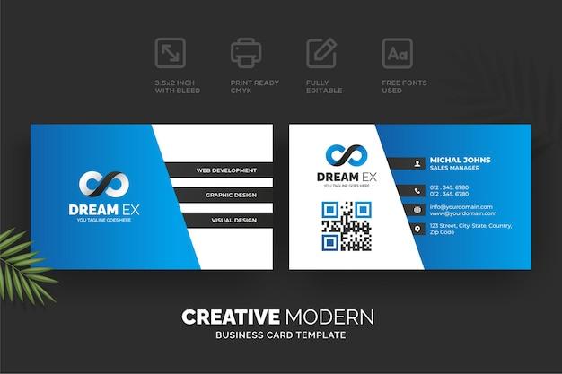 Modèle de carte de visite moderne créative avec des détails bleus et noirs